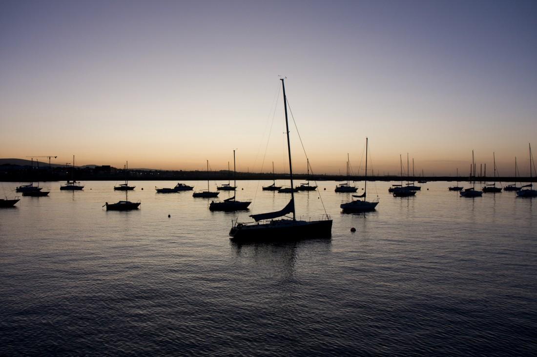 Sonnenuntergang im Hafen von Dublin