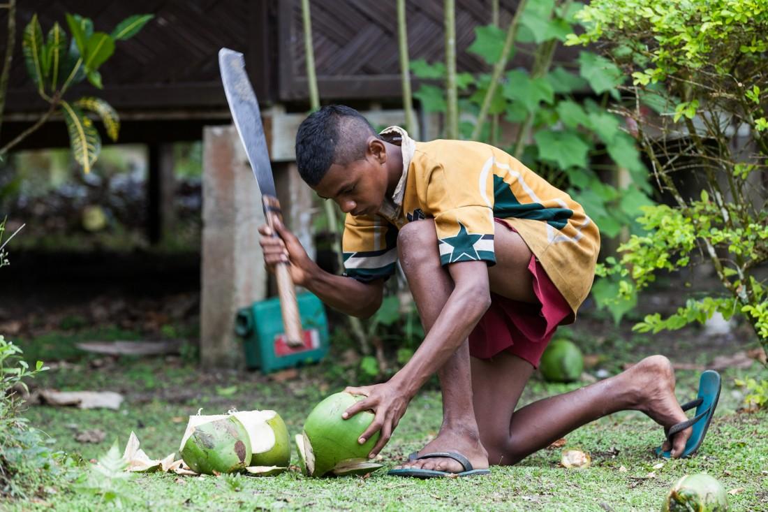 Frisch geschlagene Kokosnuss