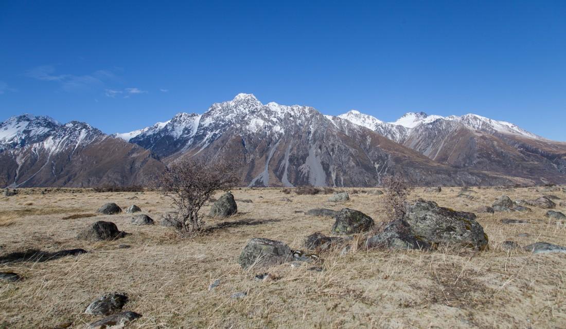 Steinige Steppe entlang der Strasse zum Mount Cook