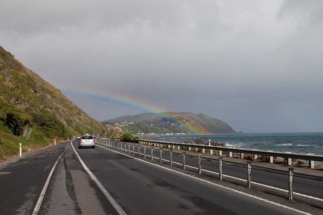 Wellington begrüsst uns mit einem Regenbogen