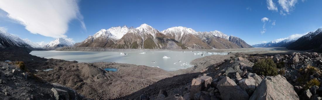 Der längste Gletscher der neuseeländischen Alpen mit nocn 27 Kilometer