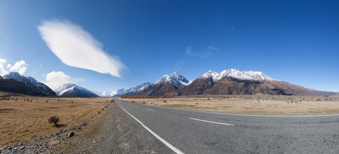 Strasse zum Mount Cook