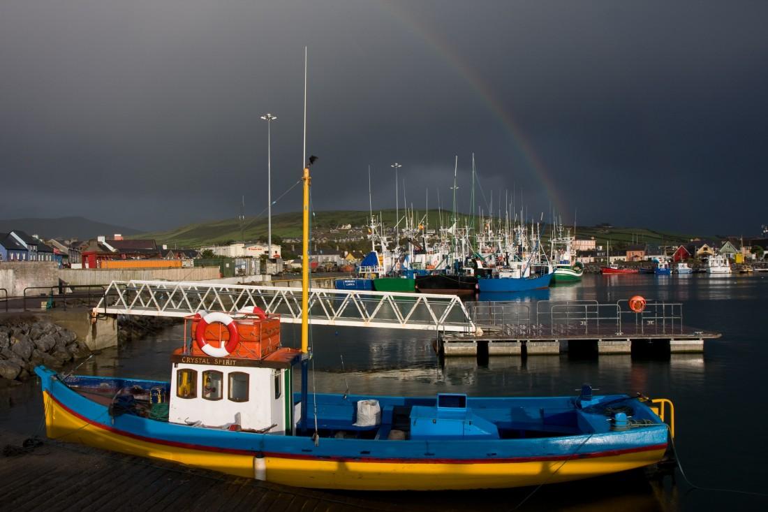 Wunderbares Licht und Regenbogen im Hafen von Dingle
