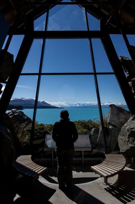 Viewpoint auf See und Mount Cook im Lake Pukaki Visitor Center